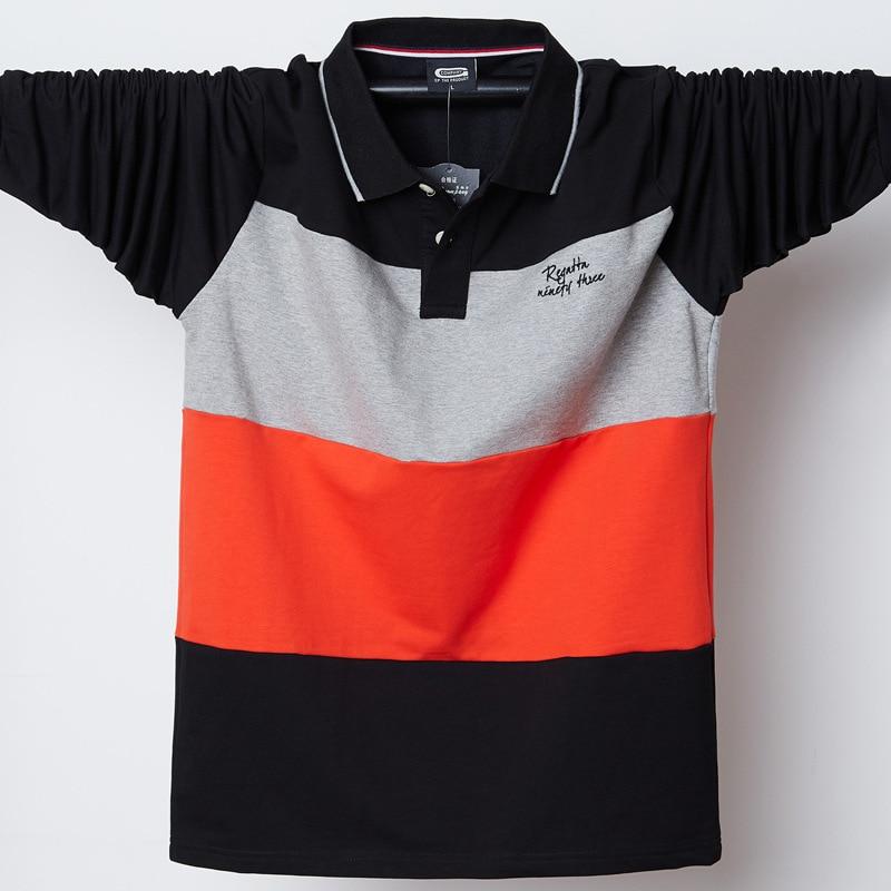 High Quality 95% Cotton Fat Guy Plus Size 4XL 5XL Horizontal Stripes Contrast Color Casual Long Sleeve Polo Shirt Men Fashion