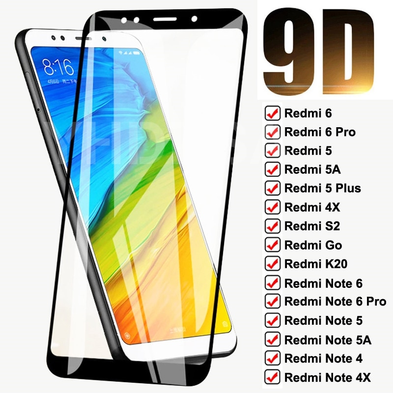 9D Tempered Glass For Xiaomi Redmi 5 Plus 5A 6 6A 4X S2 Go K20 Full Screen Protector Redmi Note 6 5 5A 4 4X Pro Protective Film