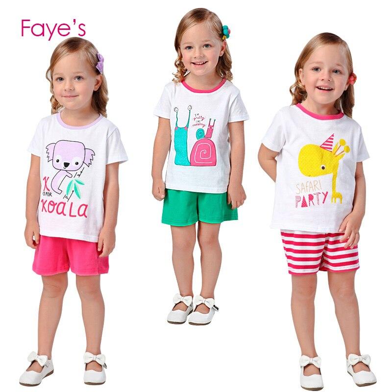 Комплекты летней одежды для маленьких девочек 2-7 лет, комплекты из футболки и шорт, комплект детской одежды, детские футболки, топы