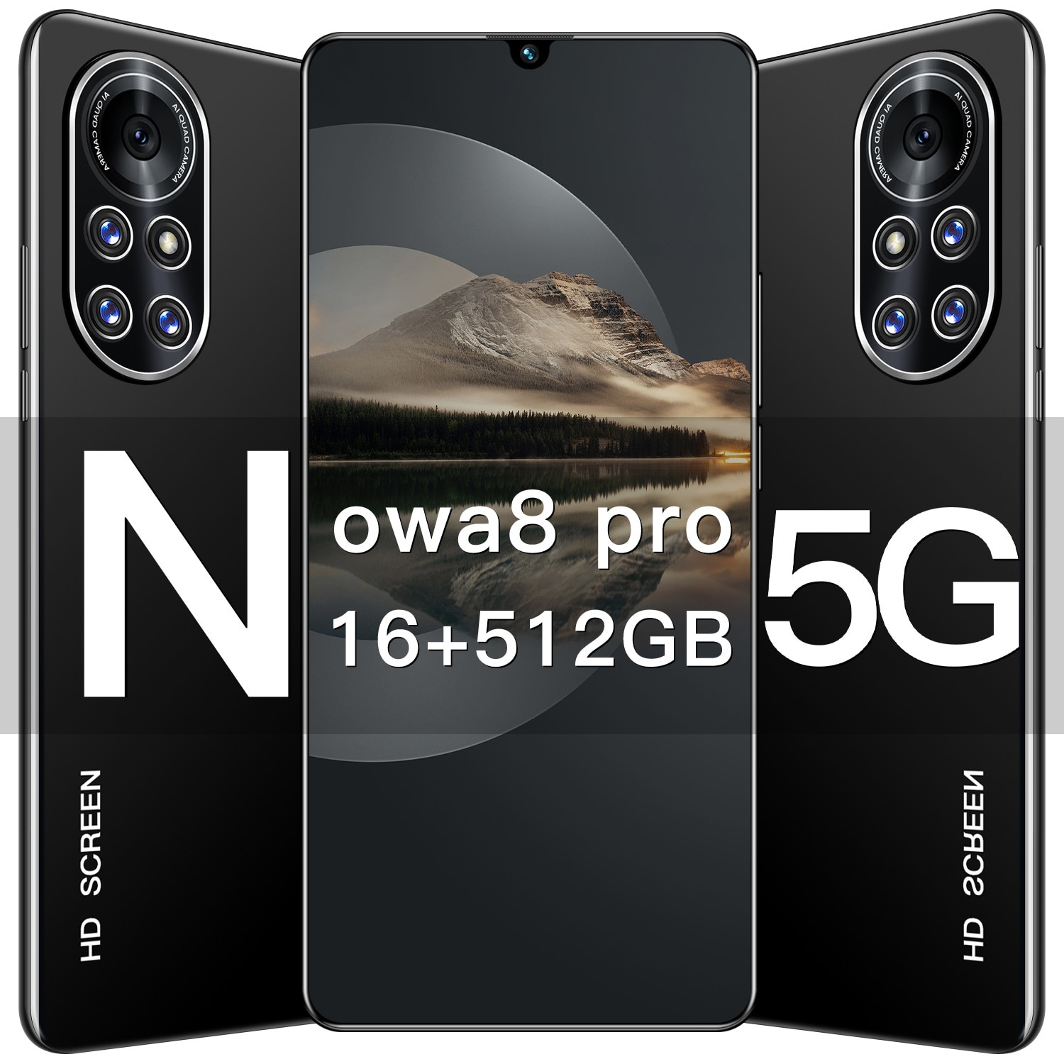 Nowa 8 Pro cellphone Android 10.0 Dual Sim Undefined Smart Phone 7.1Inch HD screen MTK 6889 Deca Core 16GB+512GB Global Version