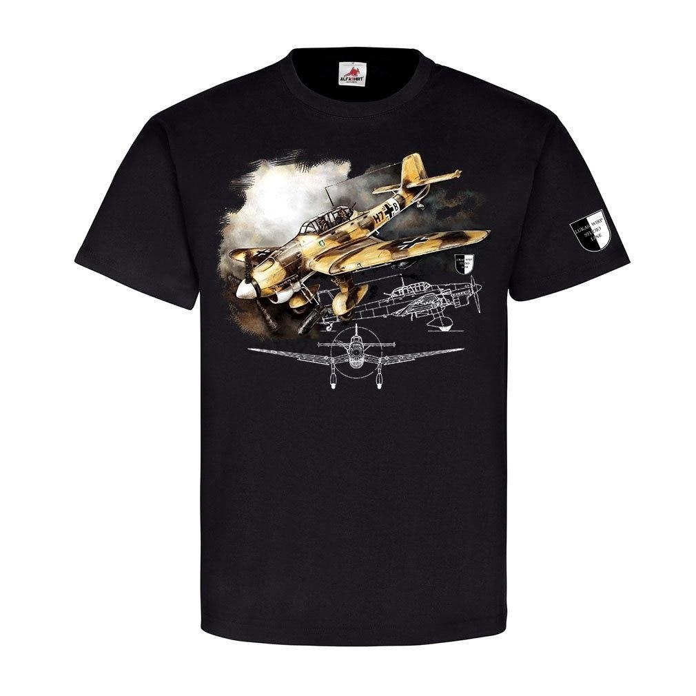 Alfasshirt Lukas Wirp Ju87 Stuka África bombardero de buceo trópicos de la Fuerza Aérea pintura militar impreso hombres camiseta