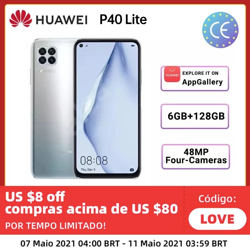 Перейти на Алиэкспресс и купить В наличии Huawei P40 Lite глобальная версия 6 ГБ 128 большой осыпи 48MP AI камеры смартфона Kirin 810 40W быстрое зарядное устройство Смартфоны