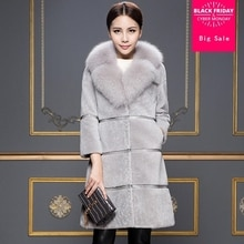 S-XXXL Plus size Winter Women's Import Whole FAUX Fox Fur collar jacket High-quality Leisure Shitsuk