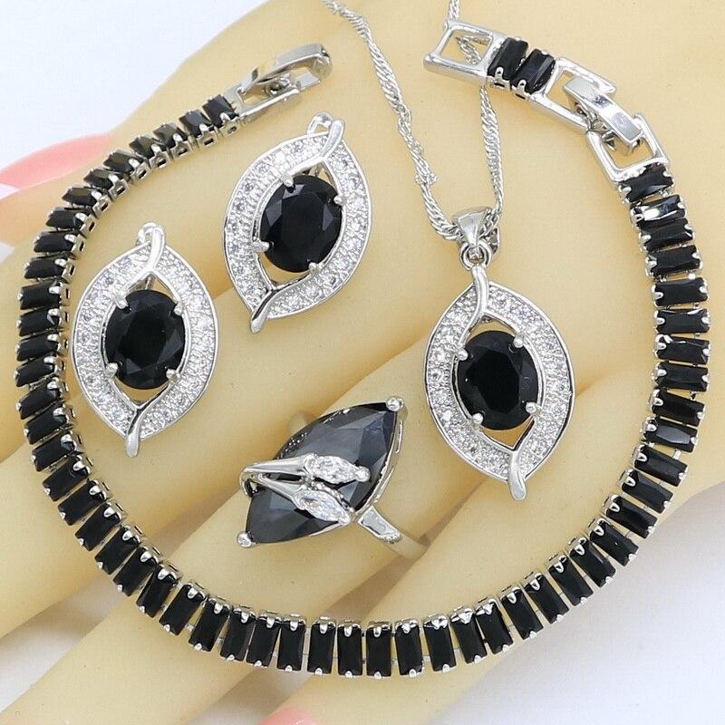 Schwarz Zirkon Silber Farbe Schmuck Sets Für Frauen Hochzeit Armband Ohrringe Ringe Halskette Anhänger Geburtstag Geschenk Box