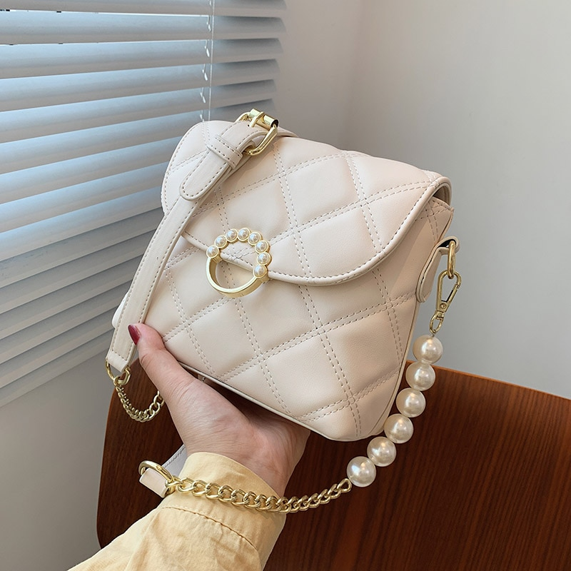 Lingge Small PU Leather Crossbody Bags for Women 2021 Pearl Design Scofy Fashion Ladies Classic Luxury Chain Handbags and Purse