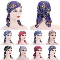 1pc women print cloth cashew tail cap scarf turban head wrap cap print hat baotou hat flower curved two tail caps western style