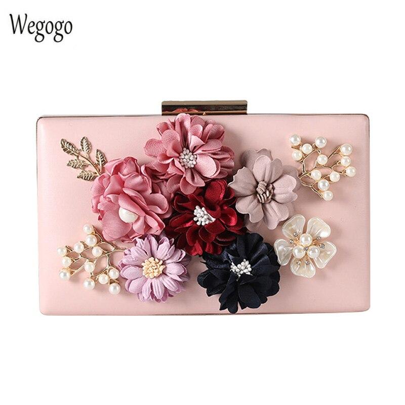 Bolso de noche de flores 3D para mujer, Cartera de mano con...
