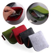 Mini Felt Coin Purse Women Men Card Holder Wallet Small Key Leather Zipper Change Money Bag Short Po