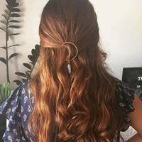 alloy moon hexagonal pillar pendant hair hairpin vintage elegant pendant hairpin copper hair clip spring summer hair accessories