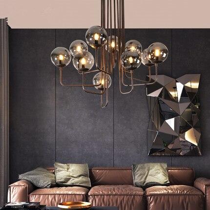 Luces de techo de vidrio Industrial nórdico para restaurante sala de estar café iluminación del hogar lámpara de techo de Loft con vidrio