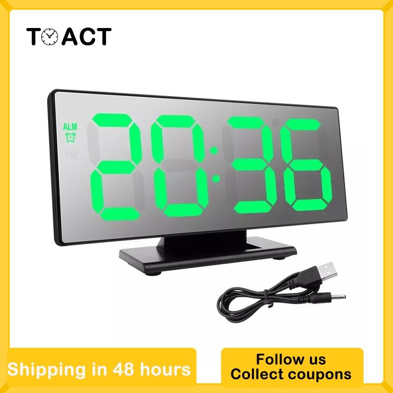 LED Digital Alarm Clock Electronic Mirror Desktop Clock Snooze Night Display Multifunction Electronic Desk Clocks Despertador