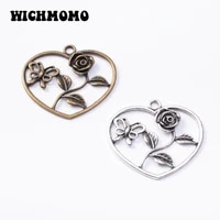 2020 new fashion 2pcslot 4854mm retro plated zinc alloy heart flowers charms pendants for diy necklace jewelry accessories