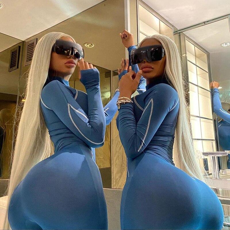 NOVEDAD DE VERANO las mujeres Bodycon ropa deportiva Collar con soporte de cremallera de manga larga línea Tops de Color liso alta cintura elástica banda largo traje de pantalón
