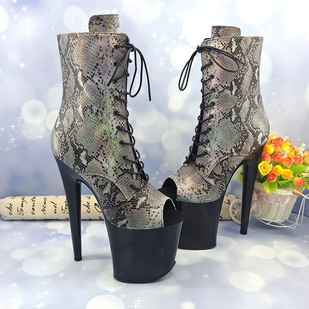 Leecabe  20CM/8Inch Women's Platform disco party snake  skin PU upper Pole Dance boot