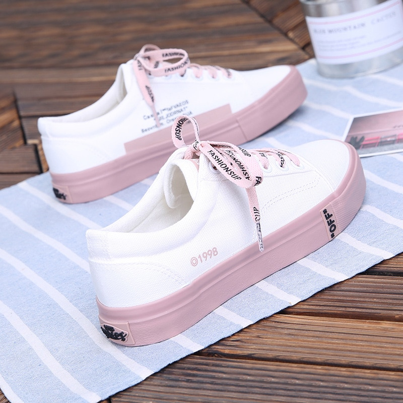 AliExpress - 2021 New Canvas Shoes Women Vulcanize Shoes Student Solid Color Sneakers Ladies Flats Casual Breathable Walking Travel Tennis