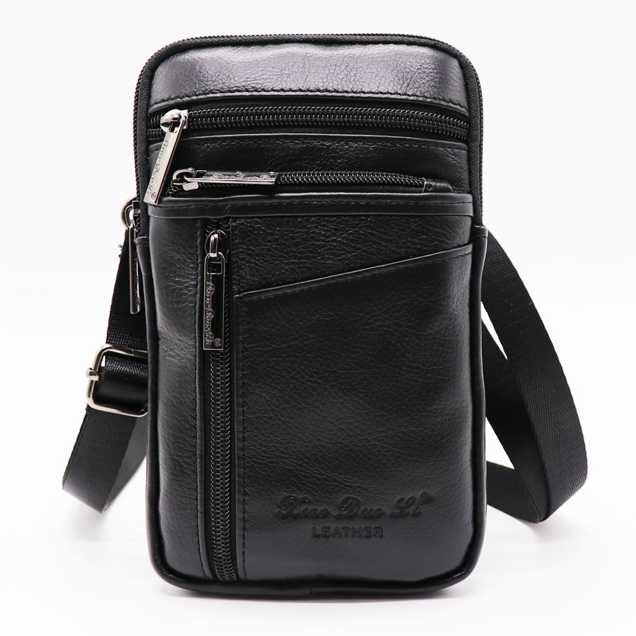 XiaoDuoLi Brand Genuine Leather Mini Men's Shoulder Messenger Bags Men 7' Cell Phone Pouch Case Hip&Bum Belt Cross Waist Pack