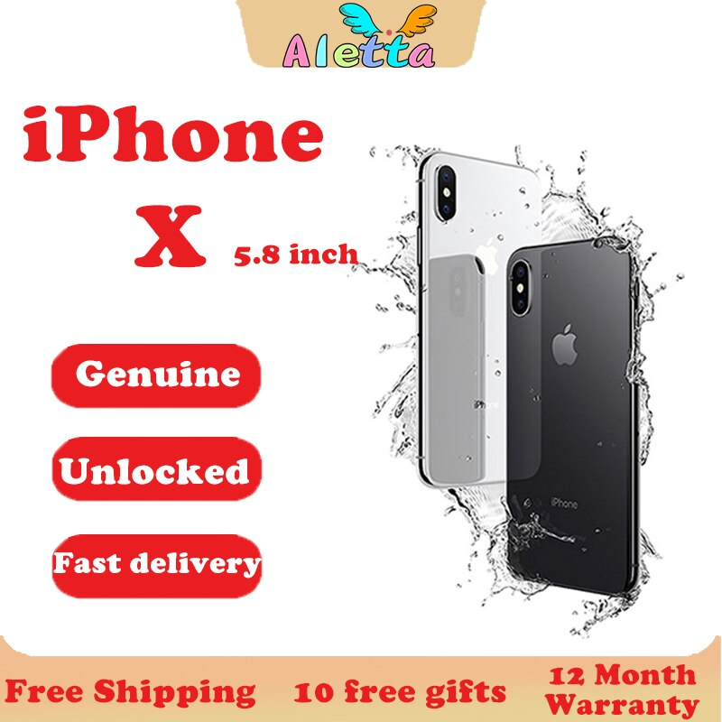 Unlocked Original Apple iPhone X 5.8inch Face ID NFC RAM 3GB ROM 64GB/256GB Smartphone A11 12MP Hexa-core Apple Pay Cellphone