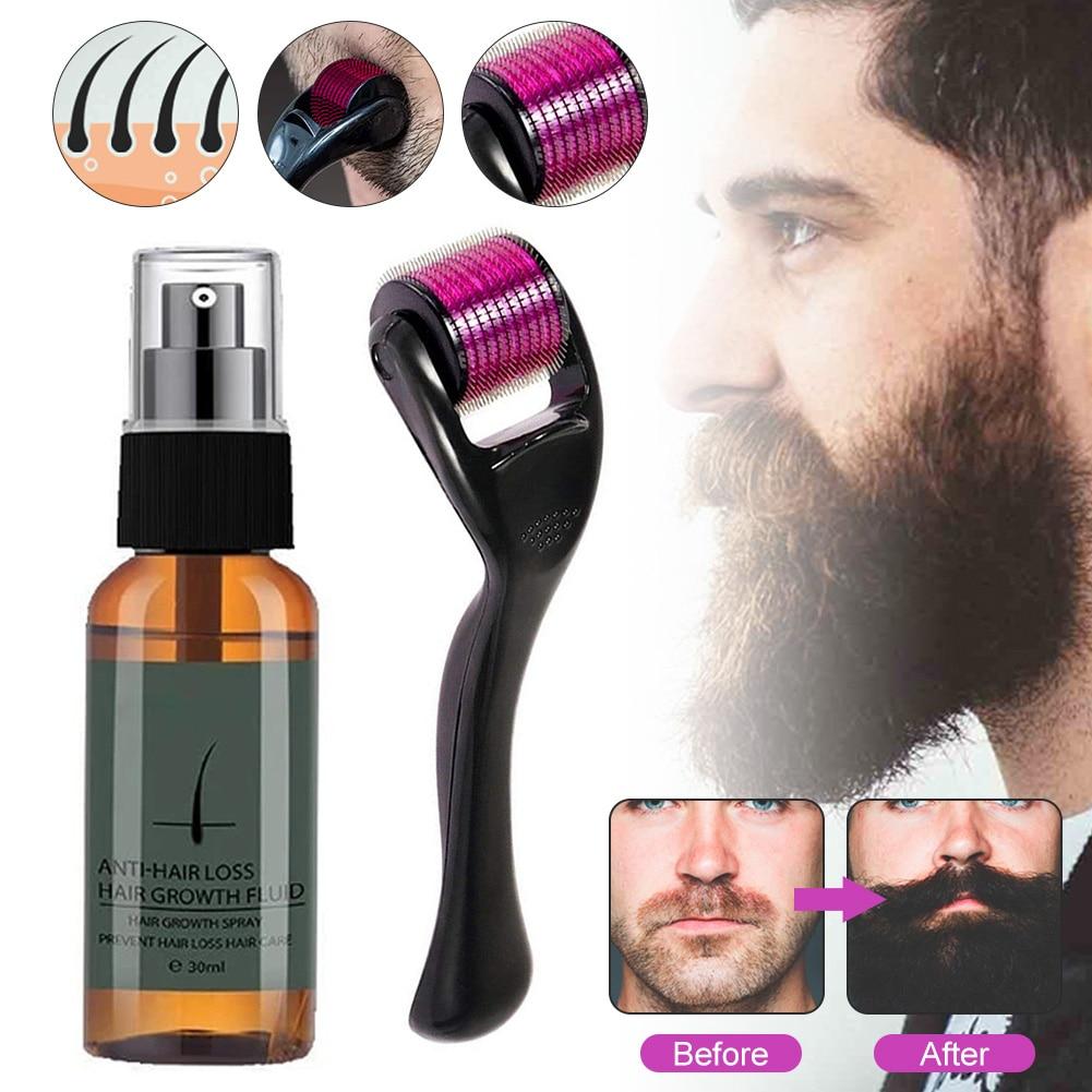 Natural Men Beard Growth Roller Kit Men's Beard Growth Oil Nourishing Enhancer Beard Oil Spray Anti