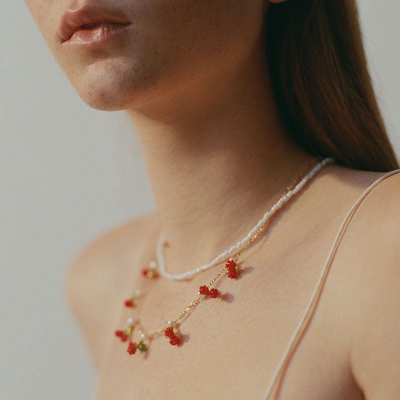 Dvacaman 2020 New ZA Fashion Cute 2PCS/Set Cherry Pearl Necklace for Women Girls Bohemia Summer Clavicle Necklace Choker Jewelry