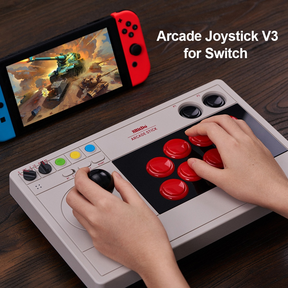 Controle arcade 8bitdo para nintendo switch, controle de 3 modos de luta, joystick