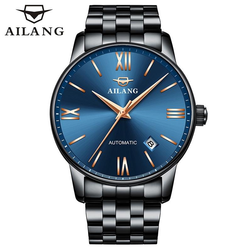 AILANG Back Business Mechanical Fashion Men's Wrist Watch Waterproof Calendar Sapphire Stainless Steel Strap Men Watches 2603