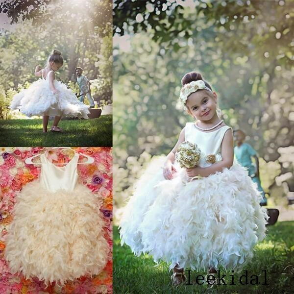White Ivory Feather Princess Ball Gowns Luxury Feather Birthday Gowns Celebrity Gowns Infant Toddler Girls First Communion Gowns