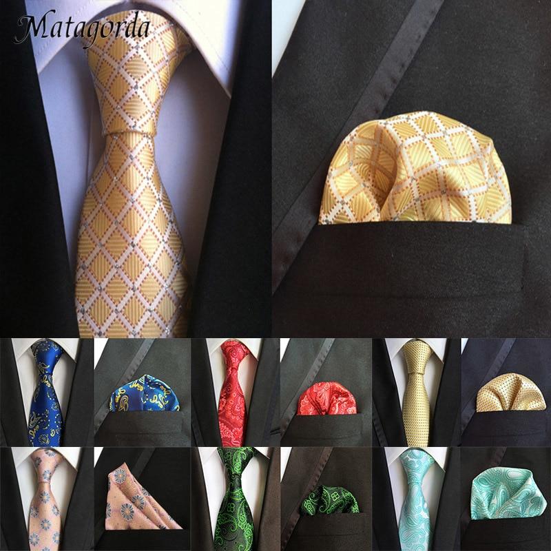 Matagorda Paisley Floral Man Tie Hanky Set 100% Silk Embroidery Neck Tie Pocket Square Handkerchief Wedding Accessory Necktie