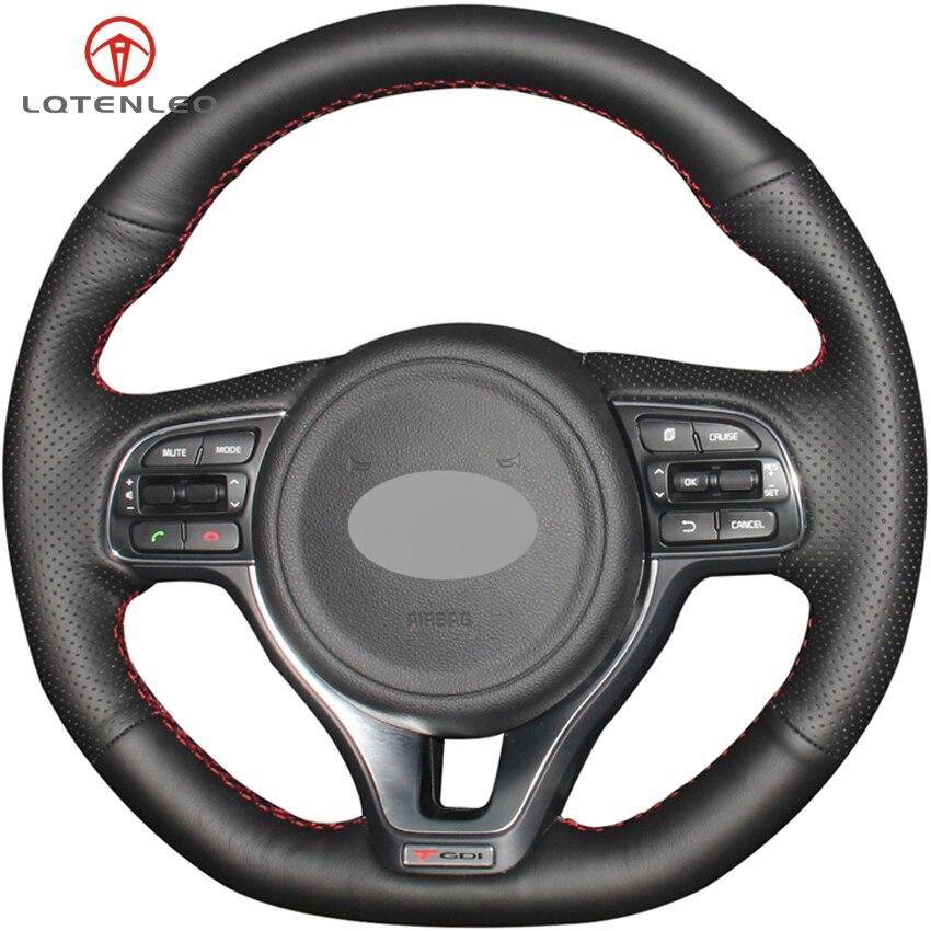 Funda de volante de cuero Artificial negra LQTENLEO para Kia K5 Optima 2015-2018 (deporte) KX5 2015-2019 Sportage 4 2015-2019