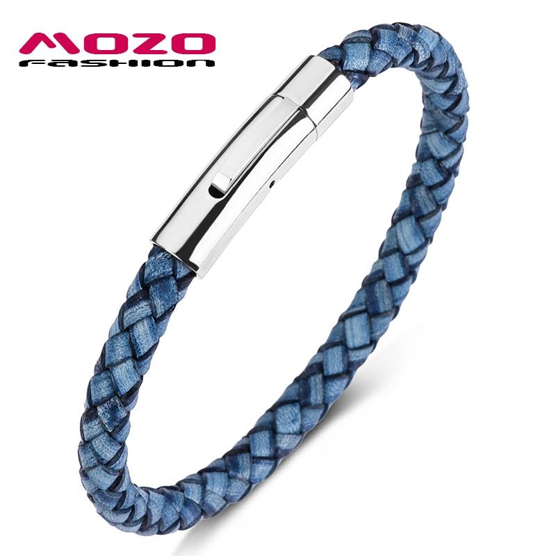Moda gran oferta pulsera de mujer Retro Azul pulsera de cuero de acero inoxidable botón a presión pulseras hombres joyería regalos