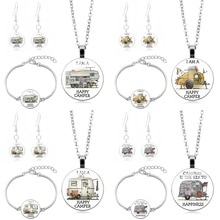 Camper Jewelry Set Time Gemstone Glass Sets Bracelet Necklace Earrings Men Women Classic Pendant Stud Bangles Gift
