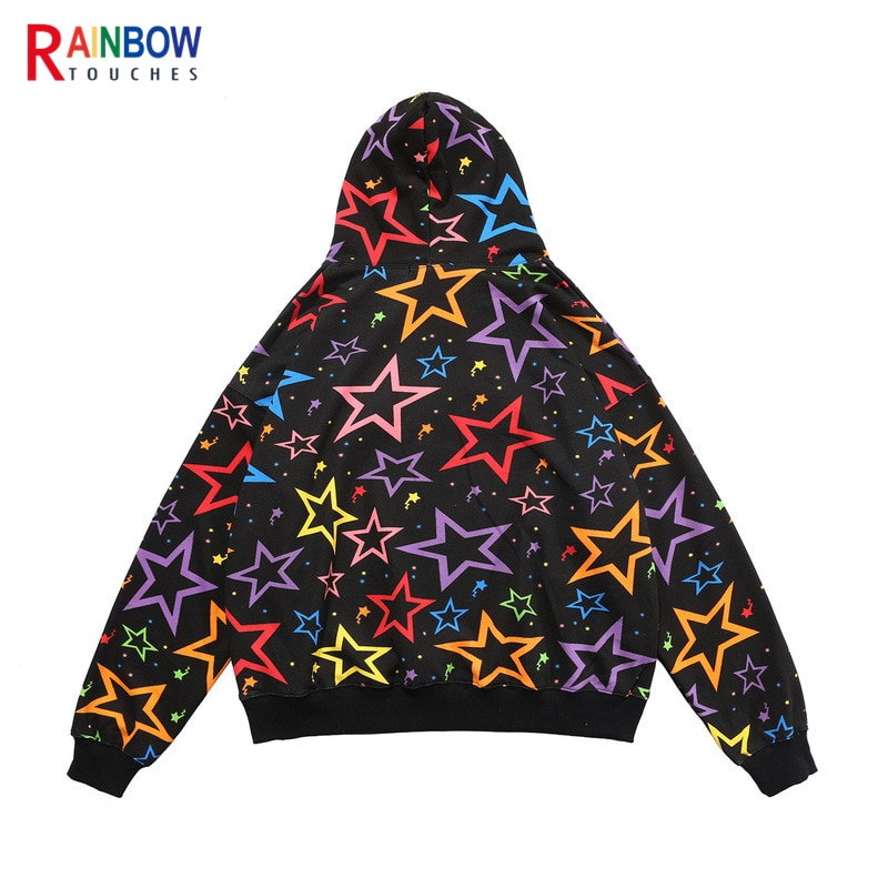 Rainbowtouches Hooded Sweater Men's Lettered Design Embroidery High Street Hip Hop Loose Couple Coat INS Popular Tops Men