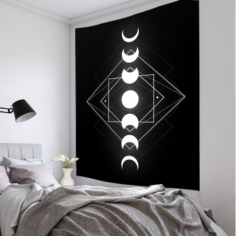 Lua transformar mandala indiano tapeçaria tapeçaria parede pendurado boêmio cigano psychedelic tapiz bruxaria