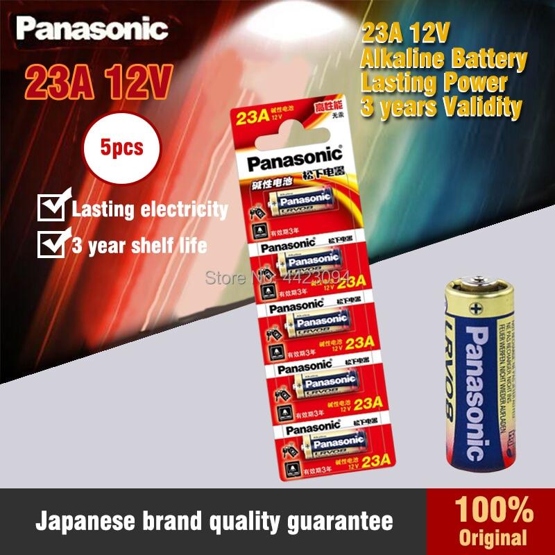 5 unids/lote 100% Panasonic LRV08L-1B5C 12V A23 23A Batería alcalina/baterías de la...