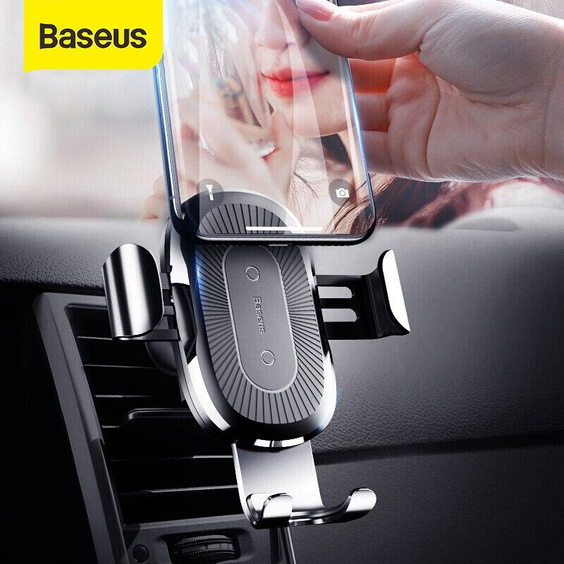 Baseus تشى شاحن سيارة لاسلكية لسيارة هاتف ذكي شاحن لاسلكي 10 واط سريع شاحن سيارة تنفيس الهواء جبل حامل هاتف