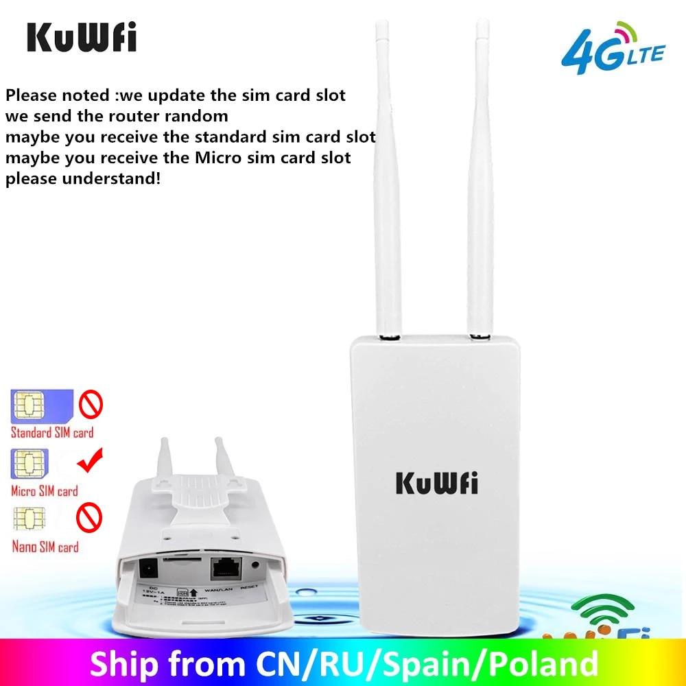 KuWFi-راوتر WiFi خارجي مقاوم للماء 4G CPE ، 150 ميجابت في الثانية ، CAT4 LTE ، مع بطاقة SIM 3G/4G ، لكاميرا IP