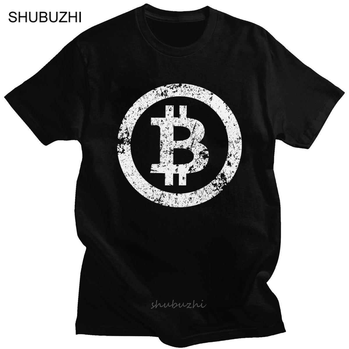 Camiseta con símbolo de Bitcoin para hombre, camiseta retro de algodón puro con estampado de criptomoneda para Traders, camiseta de manga corta con estampado Grunge para BTC