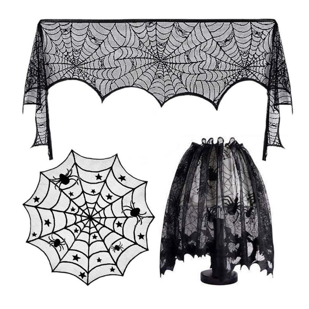3 unids/set Halloween Props lámpara de sombra camino de mesa tela de araña encaje decoración de cinta Kit telaraña lámpara sombra BDF99