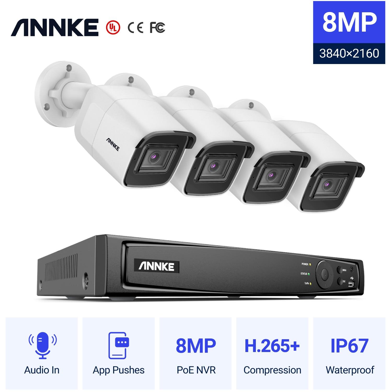 Anke 4K الترا HD POE نظام مراقبة بالفيديو 8CH H.265 + NVR مع 4K كاميرات أمنية CCTV عدة تسجيل الصوت 8MP كاميرا Ip