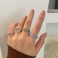 fashion jewelry 4 pcs set rings punk design metal geometric silvery plating metal blue resin rings for girl fine accessories