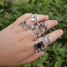BEAUTY LAYER New Retro Black Silver Color Animals Snakes Rings Adjustable Punk Finger Rings for Wome