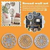 Medaille murale ronde en metal  decoration suspendue en bois  accessoires de decoration pour la maison