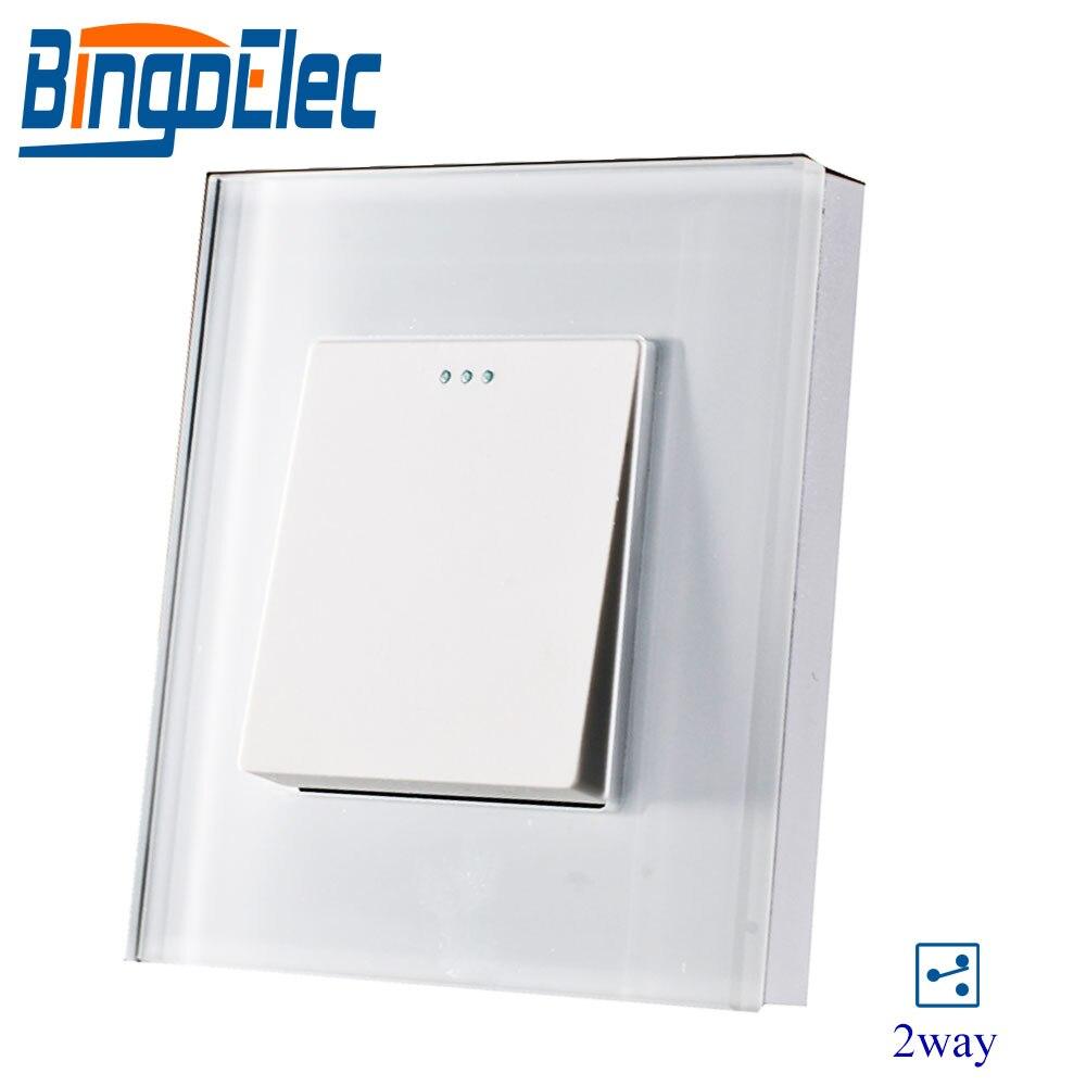 EU/REINO UNIDO 1gang 2way interruptor puxar, cristal temperado painel de vidro, AC110-250V, venda Quente