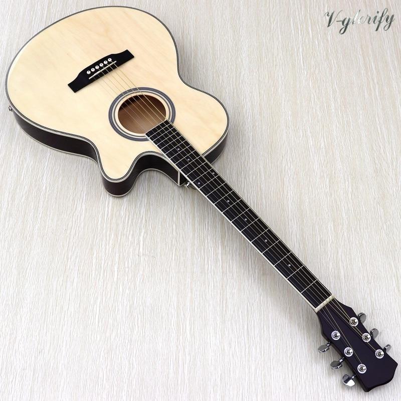 Guitarra acústica de cuerpo fino de tilo completo con ecualizador color natural diseño recortado 40 pulgadas folk guitarra bolsa gratis de cuerda