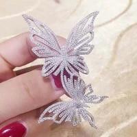 40x68mm high end zircon butterfly brooch gradual color pin silk scarf buckle corsage accessories