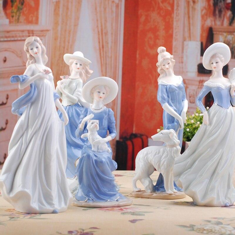 Figuritas elegantes de cerámica para dama, decoración de habitación hecha a mano, decoración de boda, porcelana