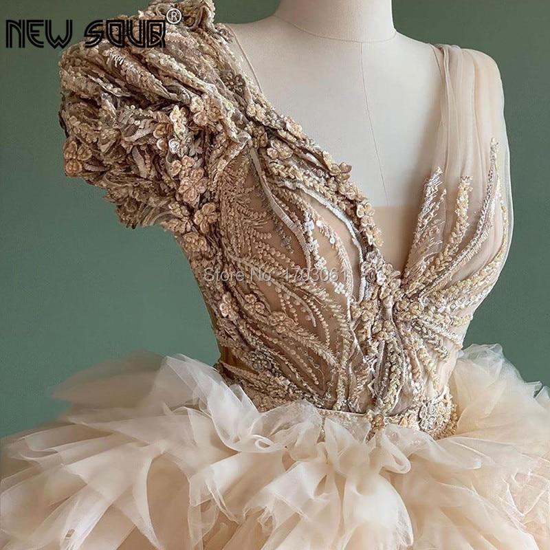 Chic Design Puffy Beige Ruffles Evening Gowns 2020 Aibye Dubai Flower Appliques Beaded Party Dress Prom Dress Robe De Soiree New Evening Dresses Aliexpress