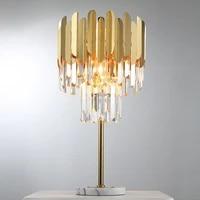fkl modern crystal table lamp desk decor gold polished steel led de dormitorio indoor light fixtures