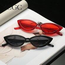 Retro Cateye Sunglasses Women Retro Small Black Transparent Pink 2020 Triangle Vintage Cheap Sun Gla