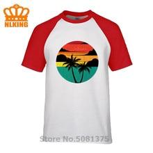 Boat In The Sun Mens PRINTED T-SHIRT Tropica Palm Tree Island Speed Boat Ocean Water Cartoon t shirt men Unisex Fashion tshirt