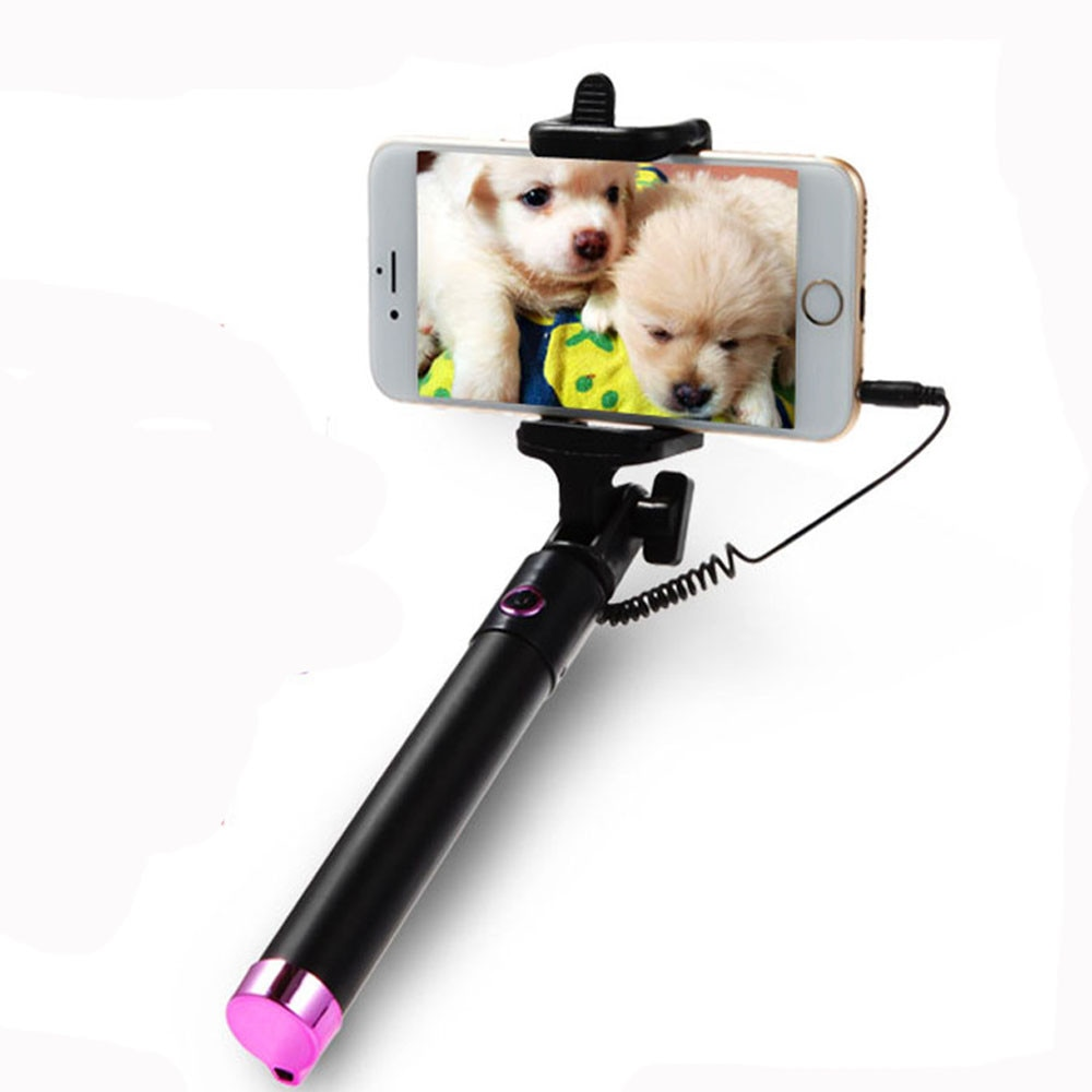 Portable Extendable Monopod Self-pole Handheld Wired Aluminum Selfie Stick For Iphone Xiaomi Huawei Smartphone